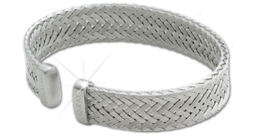 Q Ray Q2 Woven Wide Basketweave Cuff Bracelet (Q2614) - DISCONTINUED