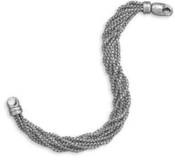 "7"" Oxidized Multistrand Box Chain Bracelet 925 Sterling Silver"