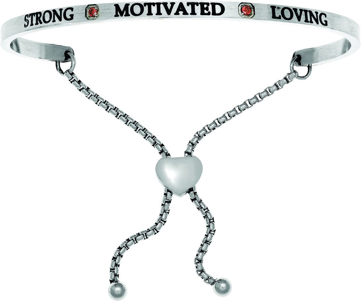"""Strong, Motivated, Loving"" w/ Dark Red CZ Stainless Steel Adjustable Bracelet"