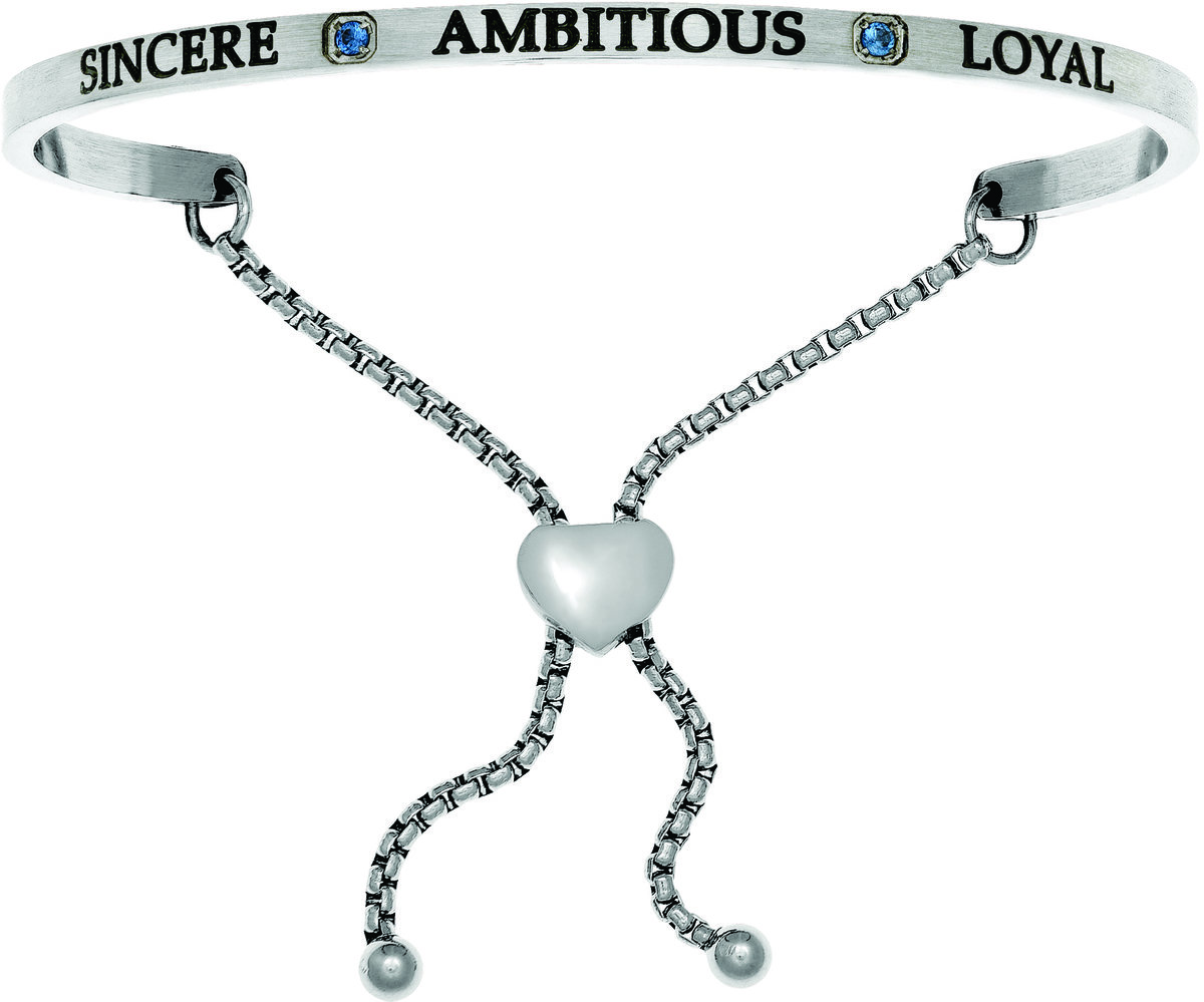 """Sincere, Ambitious, Loyal"" w/ Dark Blue CZ Stainless Steel Adjustable Bracelet"