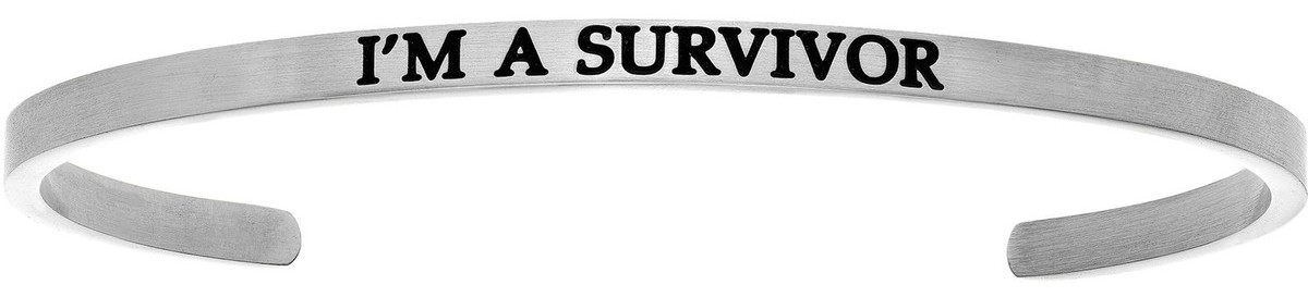 """IM A SURVIVOR"" Stainless Steel Cuff Bracelet w/ 0.005ctw Diamond"