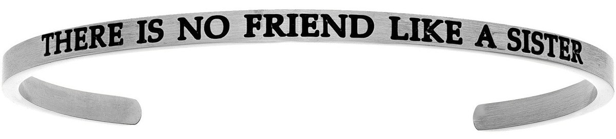 """THERE IS NO FRIEND LIKE A SISTER"" Stainless Steel Cuff Bracelet w/ 0.005ctw Diamond"