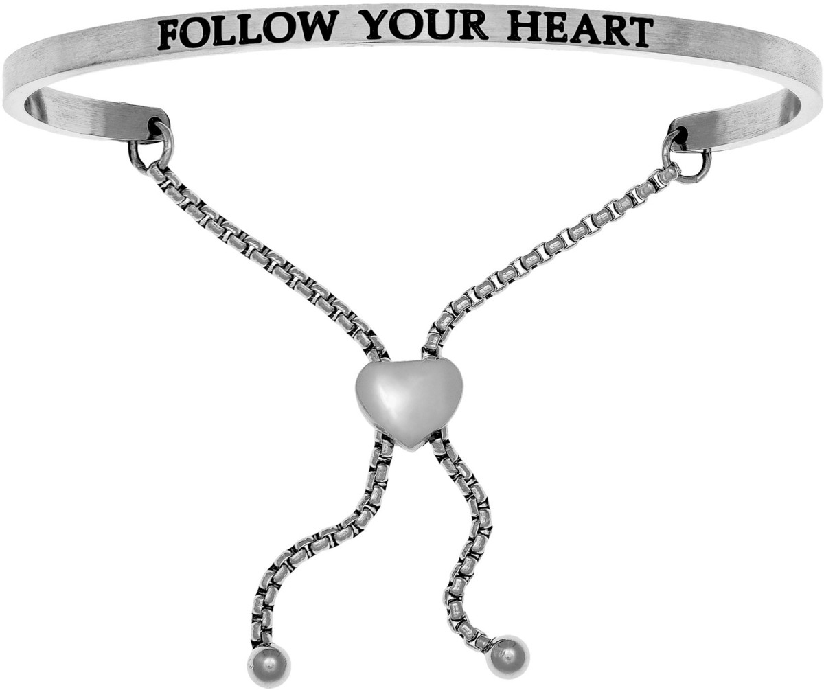 """FOLLOW YOUR HEART"" Stainless Steel Adjustable Bracelet w/ 0.005ctw Diamond"