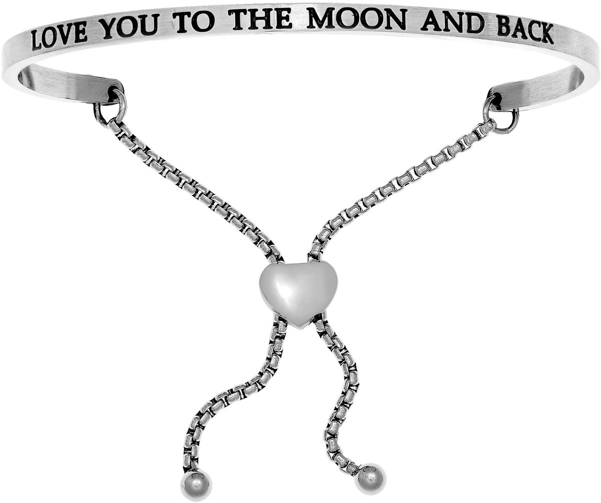 """LOVE YOU TO THE MOON AND BACK"" Stainless Steel Adjustable Bracelet w/ 0.005ctw Diamond"