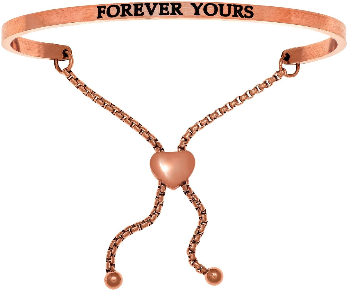 """FOREVER YOURS"" Pink Finish Stainless Steel Adjustable Bracelet w/ 0.005ctw Diamond"