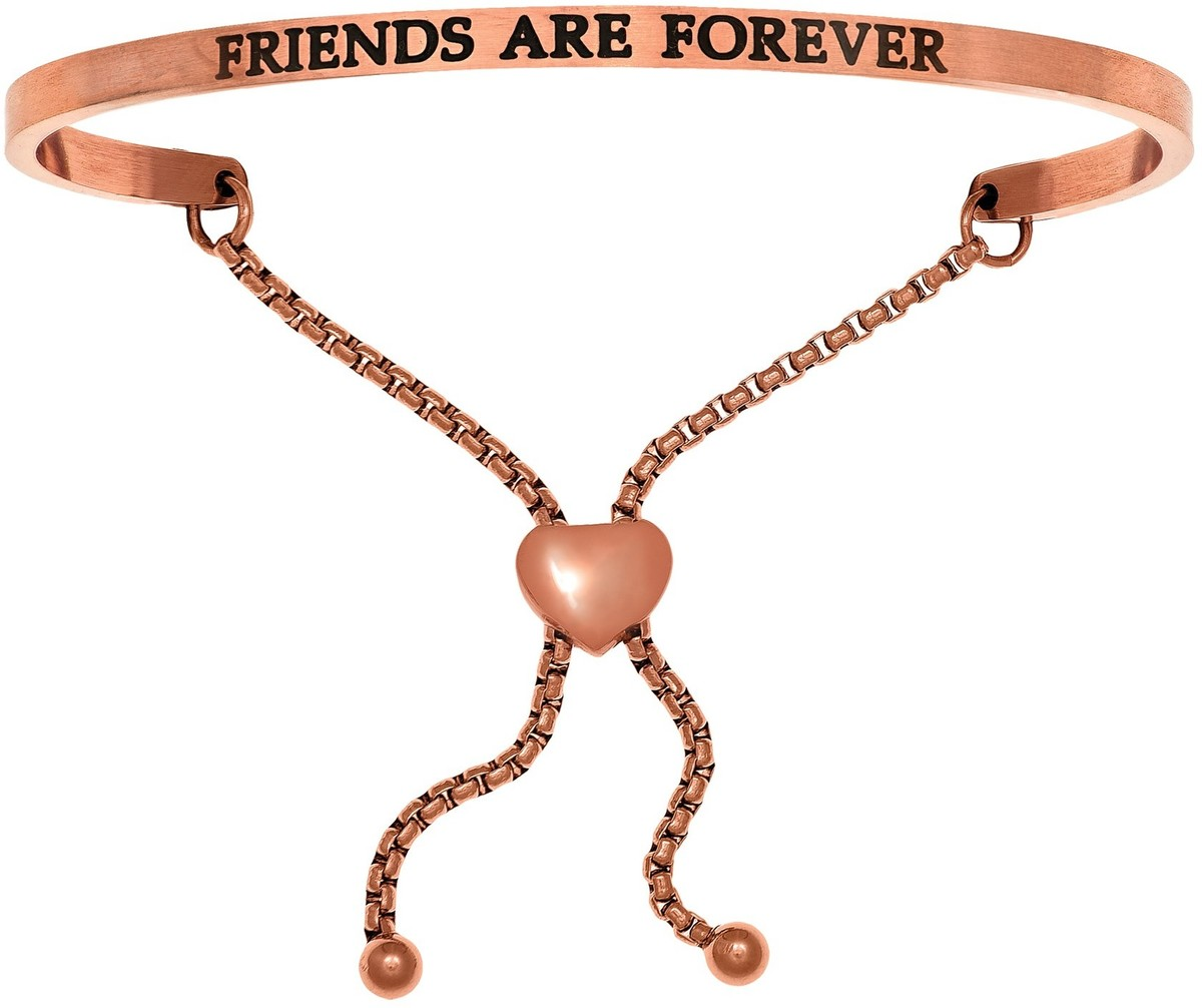 """FRIENDS ARE FOREVER"" Pink Finish Stainless Steel Adjustable Bracelet w/ 0.005ctw Diamond"