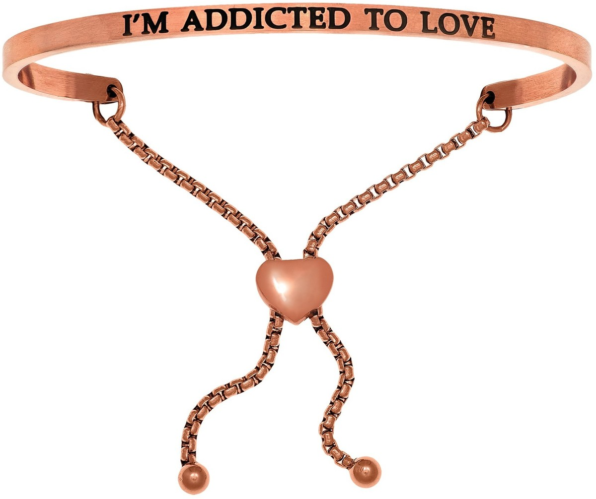 """IM ADDICTED TO LOVE"" Pink Finish Stainless Steel Adjustable Bracelet w/ 0.005ctw Diamond"
