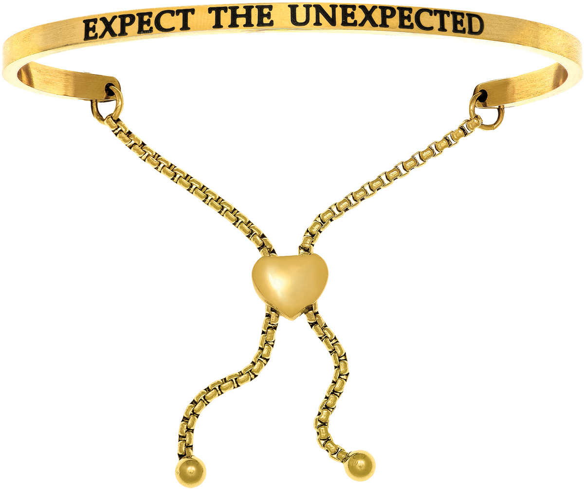 """EXPECT THE UNEXPECTED"" Yellow Finish Stainless Steel Adjustable Bracelet w/ 0.005ctw Diamond"