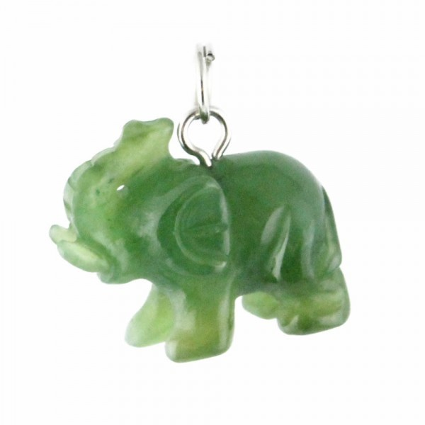 Elephant w/ Raised Trunk Jade Charm