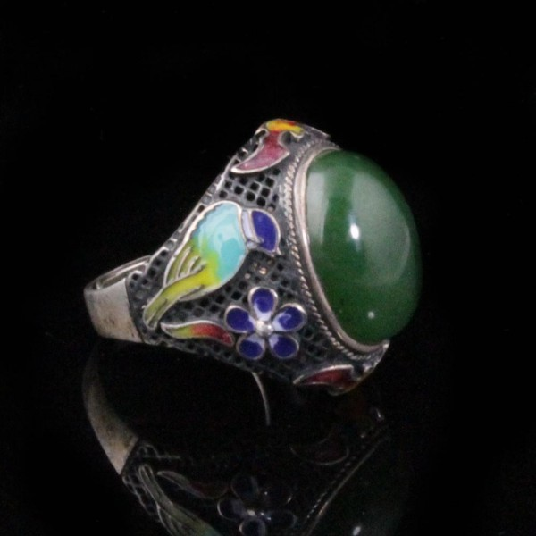 Oxidized Sterling Silver Adjustable Jade & Enamel Ring