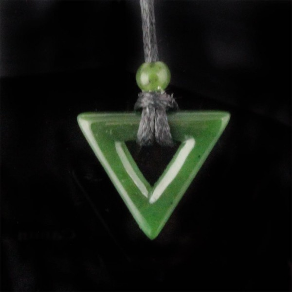 Jade Open Triangle Pendant on Cord