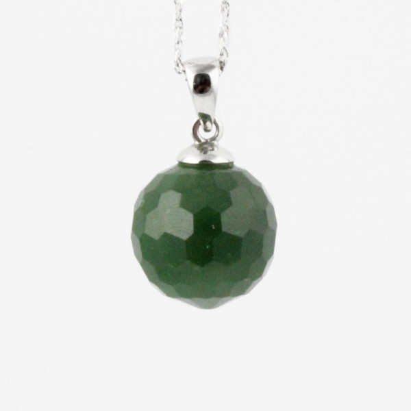 Round Faceted Jade Bead Pendant