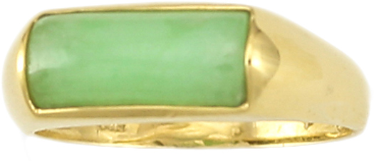 Natural Green Jadeite Jade Saddle Ring, Size 7 - DISCONTINUED