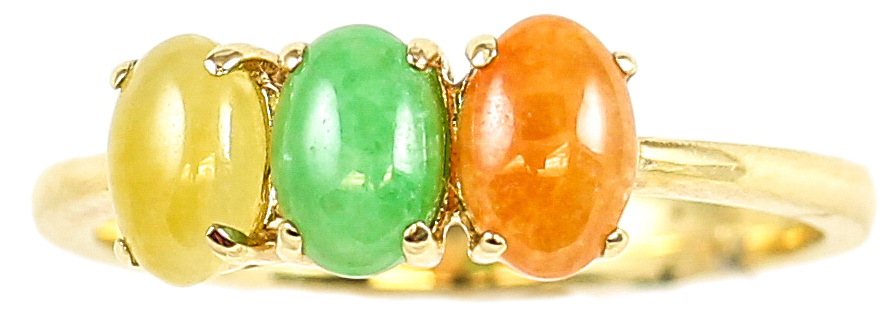 Natural Multi-Color Jadeite Jade Three Stone Ring, Size 7