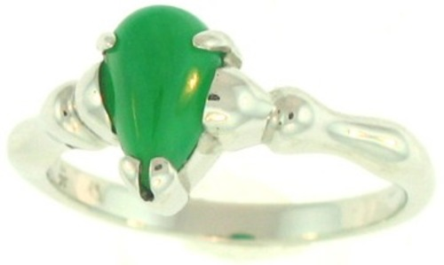 Natural Green Jadeite Jade Pear Shaped Stone Set 18K White Gold & Bamboo Style Shank, Size 6 - DISCONTINUED