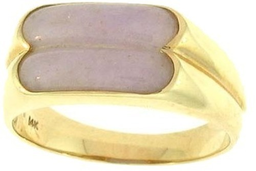 Natural Lavender Jadeite Jade Double Saddle Ring, Size 6.5