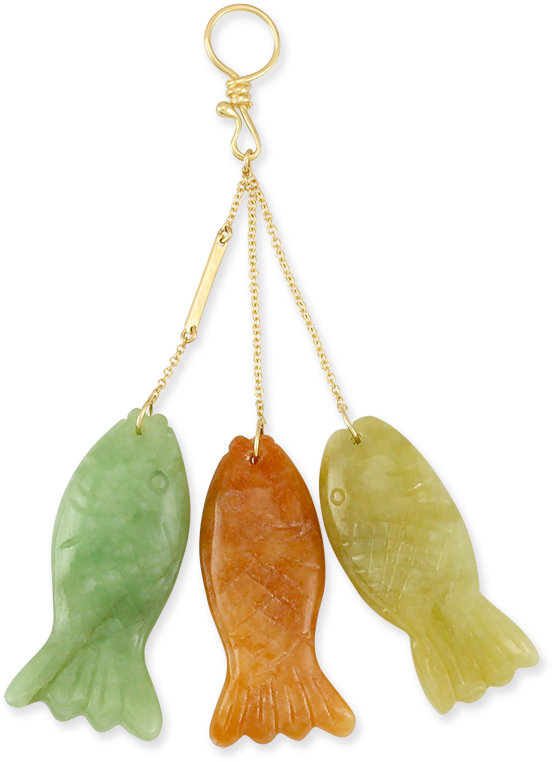 Natural green red yellow jadeite jade 3 fish on hook for Jade fish hook necklace