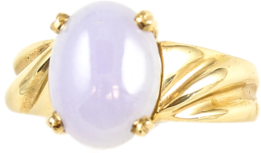 Natural Lavender Jadeite Jade Oval Stone Ring Set 14K Yellow Gold w/ Fluted Shank, Size 5.5
