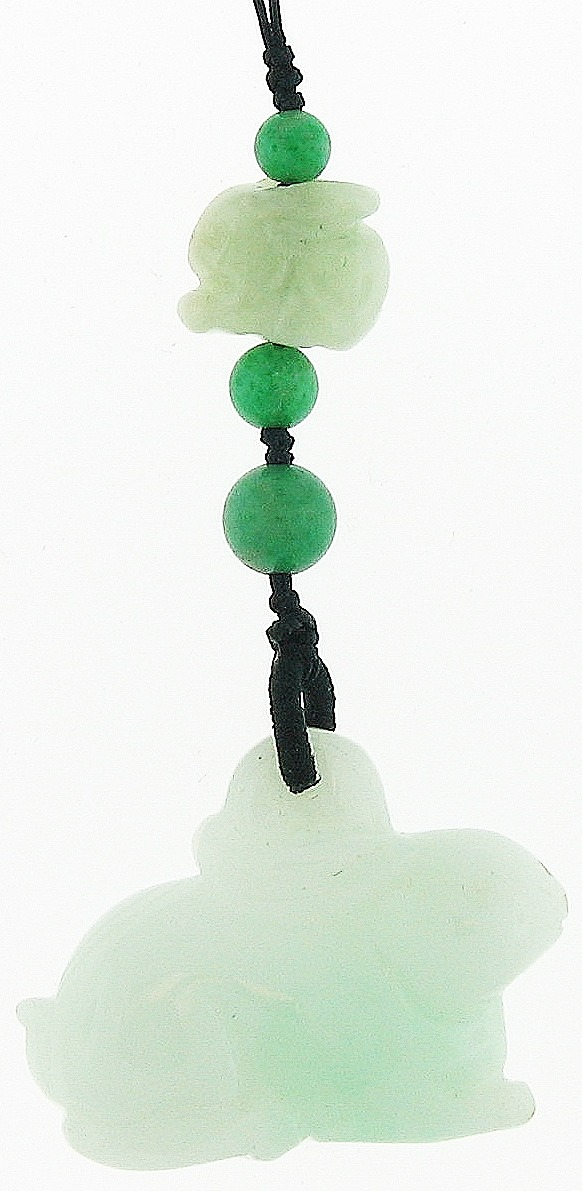 Natural Carved Green Jadeite Jade Rabbits Purse Charm w/ Green Jadeite Jade Bead Accents On Silk Cord