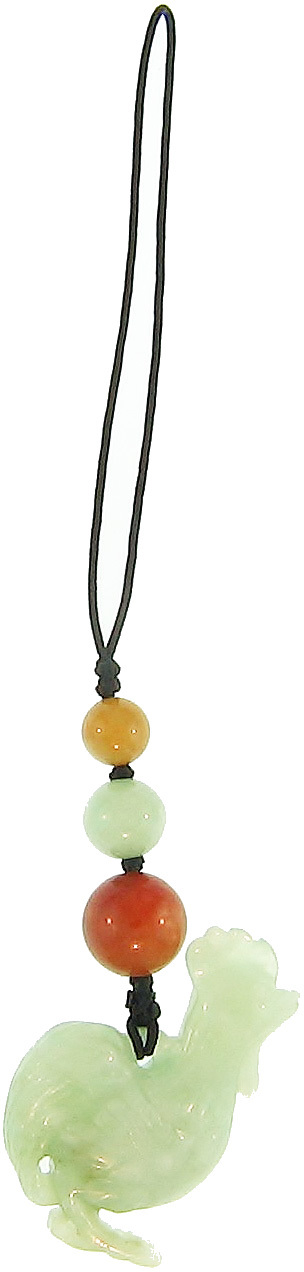 Natural Carved Green Jadeite Jade Rooster Purse Charm w/ Green, Red & Yellow Jadeite Jade Bead Accents On Silk Cord