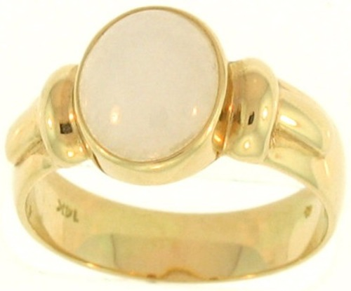 Natural White Jadeite Jade Oval Set 14K Yellow Gold T-Fluted Setting, Size 6.5