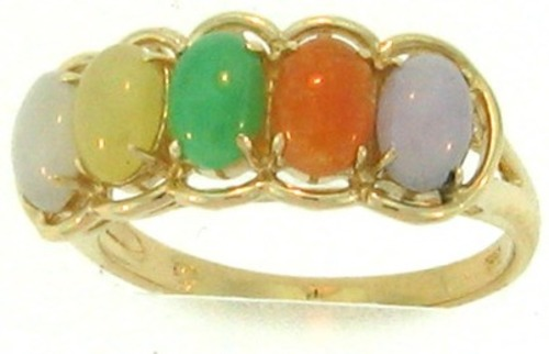 Natural Multi-Color Jadeite Jade Oval Multi-Stone Ring, Size 7