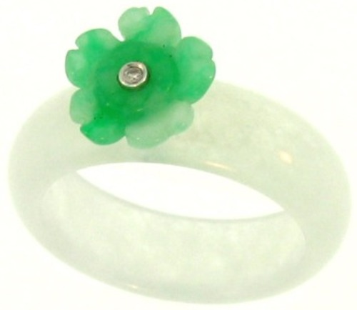 Natural Water Jadeite Jade Continuous Band Ring w/ Green Jadeite Jade Flower Carving On Top w/ Diamond Center, Size 8
