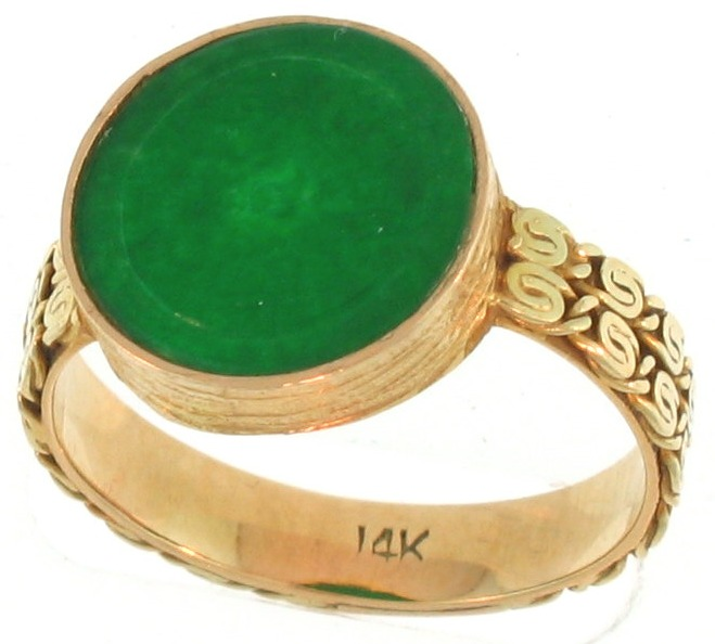 Natural Green Jadeite Jade Coin Ring, Size 6.5