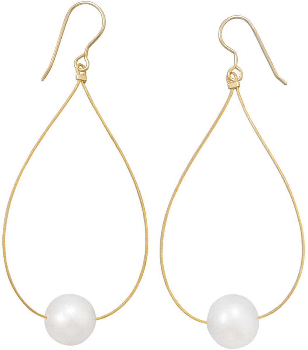 24 Karat Gold Plated Cultured Freshwater Pearl Earrings 925 Sterling Silver