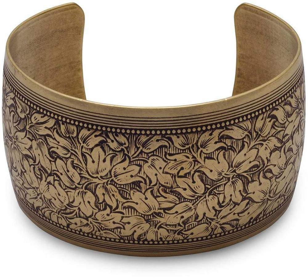 Oxidized Brass Cuff with Floral Design