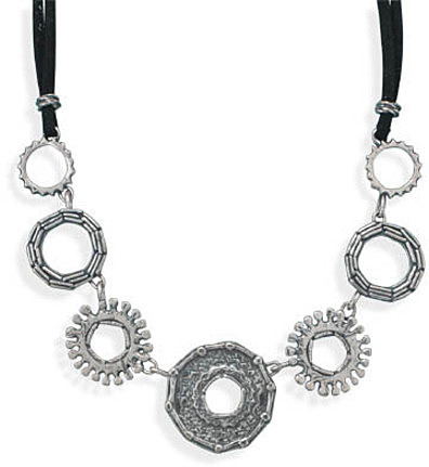 "18"" Double Strand Suede and Circle Design Necklace 925 Sterling Silver"