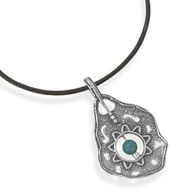 "18"" Leather Necklace with Ornate Turquoise Pendant 925 Sterling Silver"
