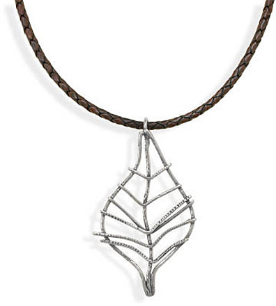 "18"" Brown Leather Necklace with Leaf Design Pendant 925 Sterling Silver"