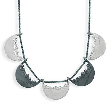 "18"" Oxidized Necklace with 5 Half Circle Design 925 Sterling Silver"