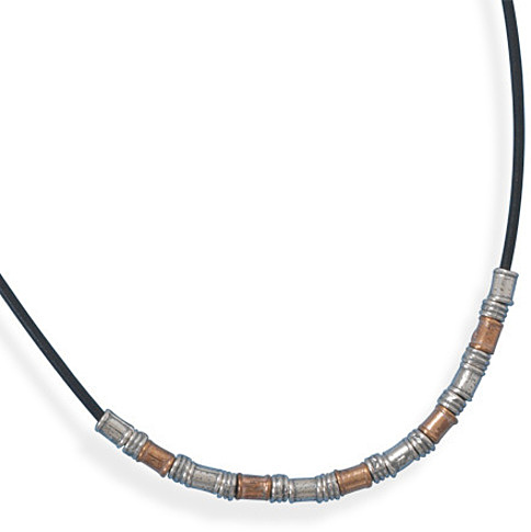 "18"" Leather Toggle Necklace with Two Tone Beads 925 Sterling Silver"