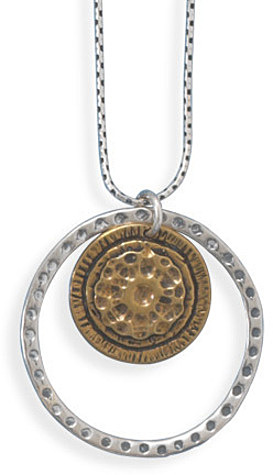 "18"" Necklace with Silver and Brass Circle Pendant 925 Sterling Silver"