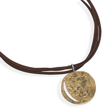 "18"" Triple Strand Suede Necklace with Brass Pendant 925 Sterling Silver"