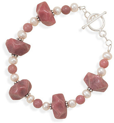 "7.75"" Rhodocrosite and Cultured Freshwater Pearl Toggle Bracelet 925 Sterling Silver - DISCONTINUED"