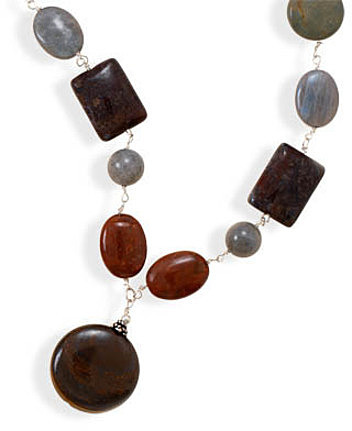 "15""+3"" Jasper and Labradorite Necklace 925 Sterling Silver"