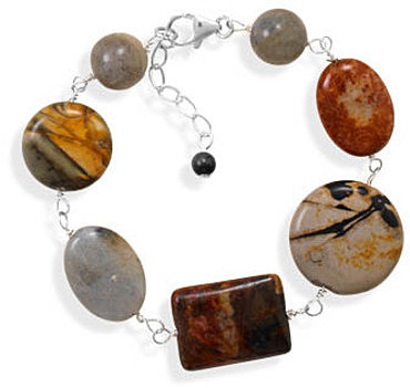 "7""+1"" Jasper and Labradorite Bracelet 925 Sterling Silver - DISCONTINUED"