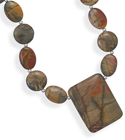 "16""+2"" Picasso Jasper Necklace 925 Sterling Silver"