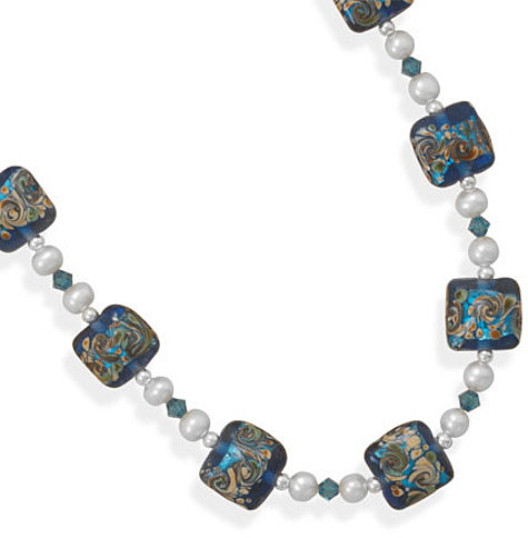 "17""+2"" Multicolor Glass Bead Necklace 925 Sterling Silver"
