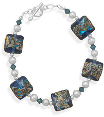 "7.75"" Multicolor  Glass Bead Toggle Bracelet 925 Sterling Silver"