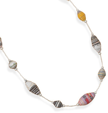 "16""+2"" Recycled Paper Bead Necklace 925 Sterling Silver"