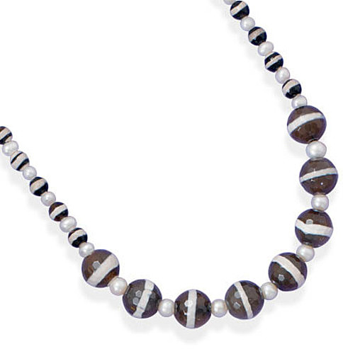 "16""+2"" Agate and Cultured Freshwater Pearl Necklace 925 Sterling Silver - DISCONTINUED"