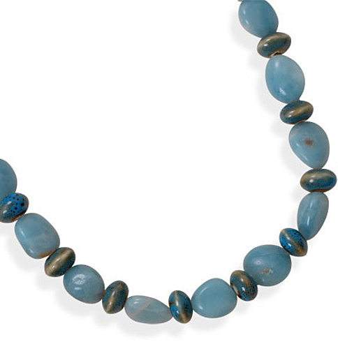 "16""+2"" Amazonite and Ceramic Bead Necklace 925 Sterling Silver - DISCONTINUED"