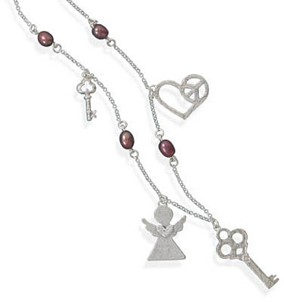 "17"" Multicharm Necklace 925 Sterling Silver"