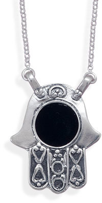 "16"" Black Onyx Hamsa Necklace 925 Sterling Silver - DISCONTINUED"