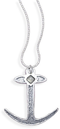 "18"" Oxidized Anchor Necklace 925 Sterling Silver"