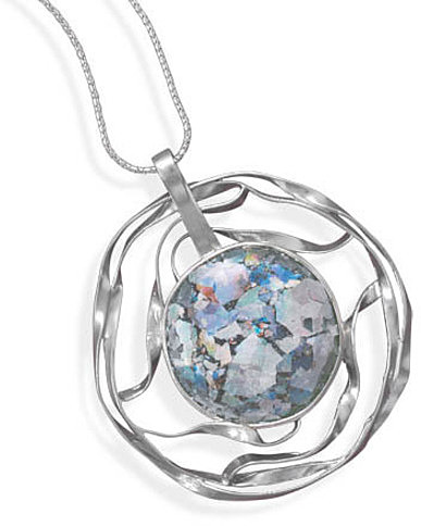 "20"" Necklace with Cut Out Roman Glass Pendant 925 Sterling Silver"